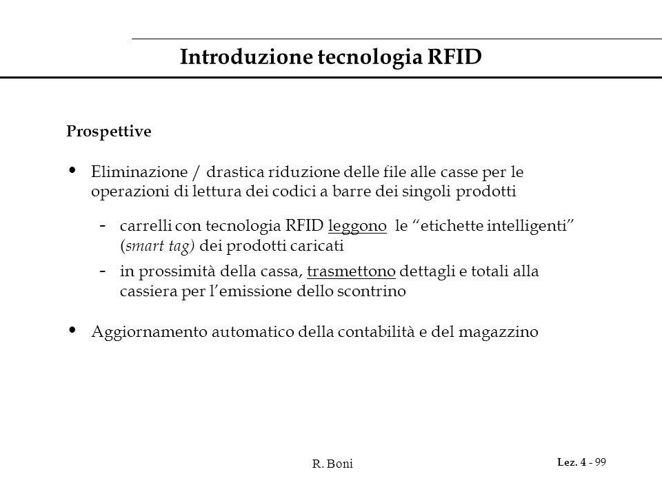 R. Boni Lez. 4 - 99 Introduzione tecnologia RFID Prospettive Eliminazione / drastica riduzione delle file alle casse per le operazioni di lettura dei