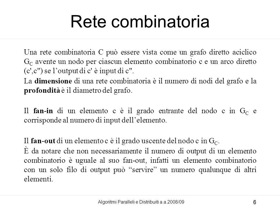 Rete combinatoria Una rete combinatoria C può essere vista come un grafo diretto aciclico G C avente un nodo per ciascun elemento combinatorio c e un