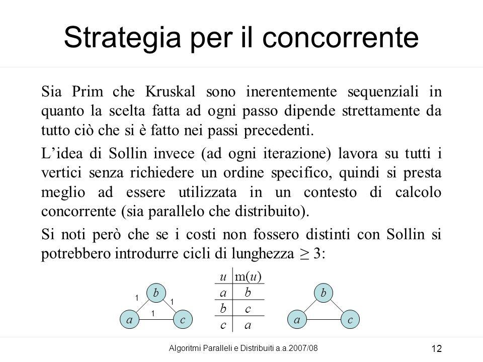 Algoritmi Paralleli e Distribuiti a.a.2007/08 12 Strategia per il concorrente Sia Prim che Kruskal sono inerentemente sequenziali in quanto la scelta fatta ad ogni passo dipende strettamente da tutto ciò che si è fatto nei passi precedenti.