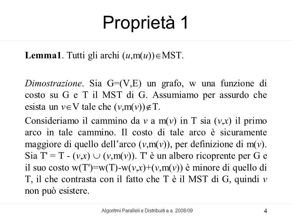 Algoritmi Paralleli e Distribuiti a.a.2008/09 4 Proprietà 1 Lemma1.