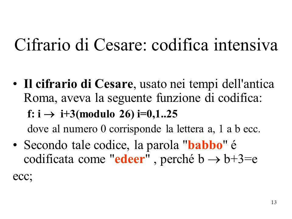 13 Cifrario di Cesare: codifica intensiva Il cifrario di Cesare, usato nei tempi dell antica Roma, aveva la seguente funzione di codifica: f: i i+3(modulo 26) i=0,1..25 dove al numero 0 corrisponde la lettera a, 1 a b ecc.