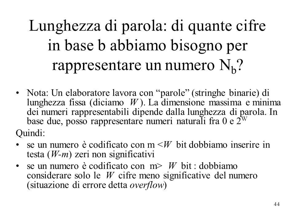 44 Lunghezza di parola: di quante cifre in base b abbiamo bisogno per rappresentare un numero N b .