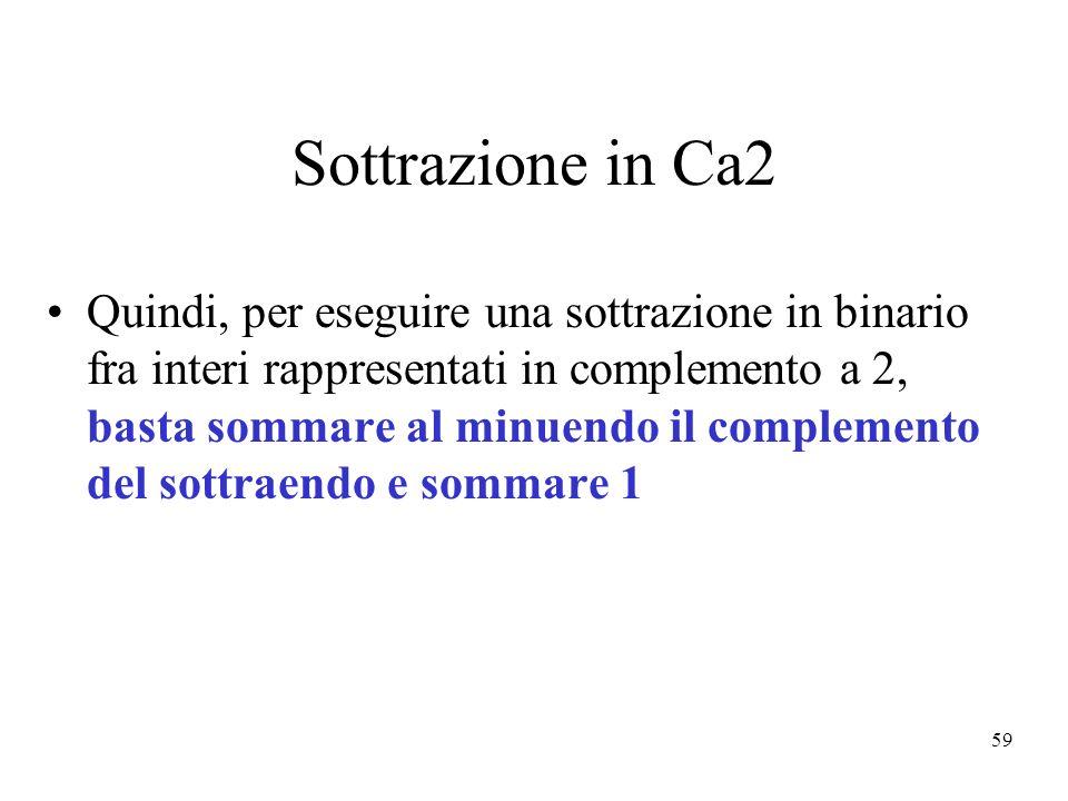 59 Sottrazione in Ca2 Quindi, per eseguire una sottrazione in binario fra interi rappresentati in complemento a 2, basta sommare al minuendo il complemento del sottraendo e sommare 1