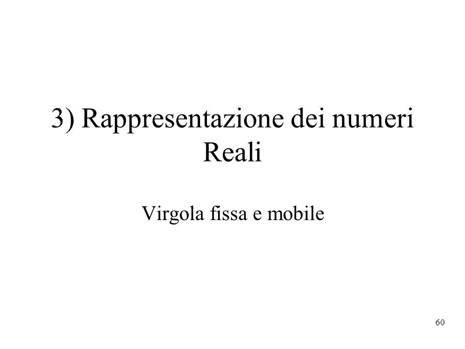 60 3) Rappresentazione dei numeri Reali Virgola fissa e mobile