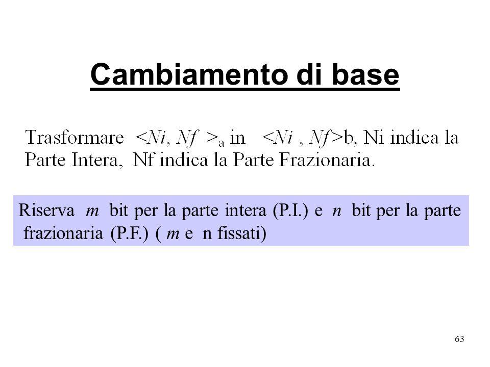 63 Cambiamento di base Riserva m bit per la parte intera (P.I.) e n bit per la parte frazionaria (P.F.) ( m e n fissati)