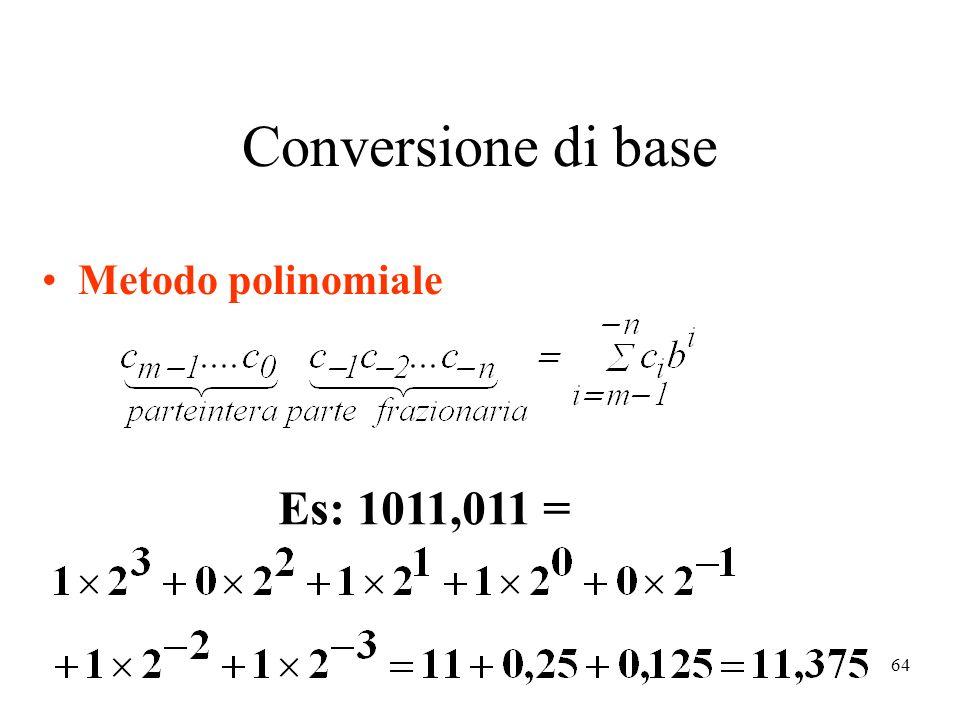 64 Conversione di base Metodo polinomiale Es: 1011,011 =