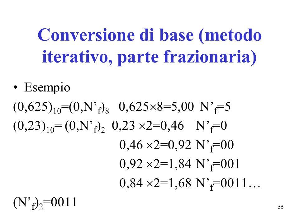 66 Conversione di base (metodo iterativo, parte frazionaria) Esempio (0,625) 10 =(0,N f ) 8 0,625 8=5,00 N f =5 (0,23) 10 = (0,N f ) 2 0,23 2=0,46 N f =0 0,46 2=0,92 N f =00 0,92 2=1,84 N f =001 0,84 2=1,68 N f =0011… (N f ) 2 =0011