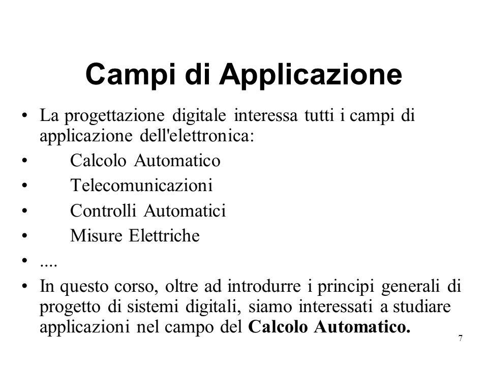7 Campi di Applicazione La progettazione digitale interessa tutti i campi di applicazione dell elettronica: Calcolo Automatico Telecomunicazioni Controlli Automatici Misure Elettriche....