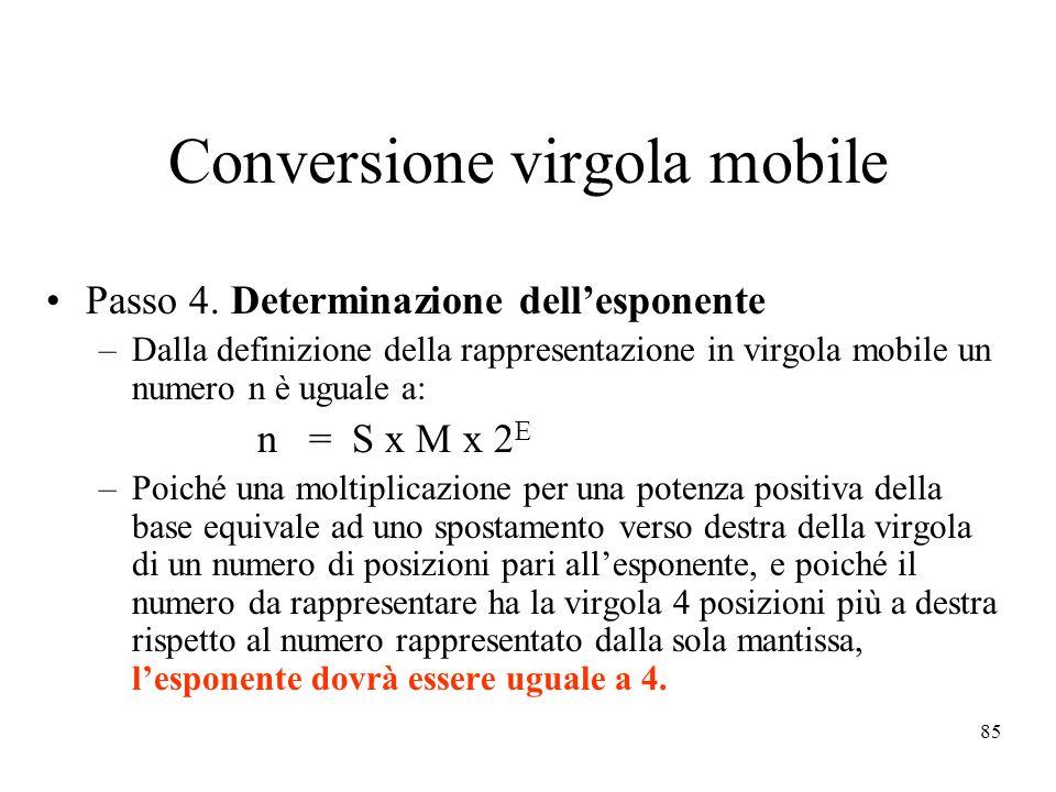 85 Conversione virgola mobile Passo 4.