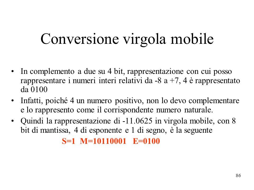 86 Conversione virgola mobile In complemento a due su 4 bit, rappresentazione con cui posso rappresentare i numeri interi relativi da -8 a +7, 4 è rappresentato da 0100 Infatti, poiché 4 un numero positivo, non lo devo complementare e lo rappresento come il corrispondente numero naturale.