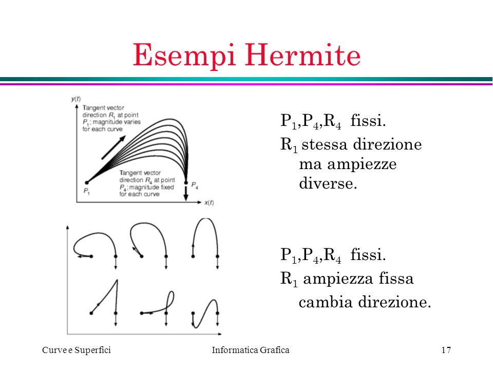 Informatica Grafica Curve e Superfici17 Esempi Hermite P 1,P 4,R 4 fissi. R 1 stessa direzione ma ampiezze diverse. P 1,P 4,R 4 fissi. R 1 ampiezza fi