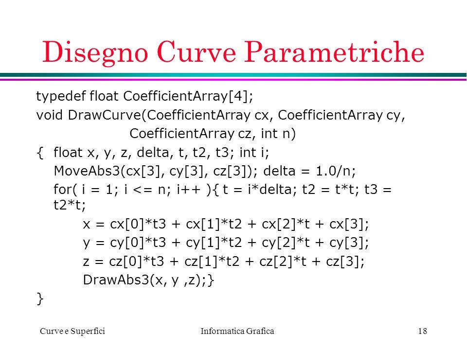 Informatica Grafica Curve e Superfici18 Disegno Curve Parametriche typedef float CoefficientArray[4]; void DrawCurve(CoefficientArray cx, CoefficientA