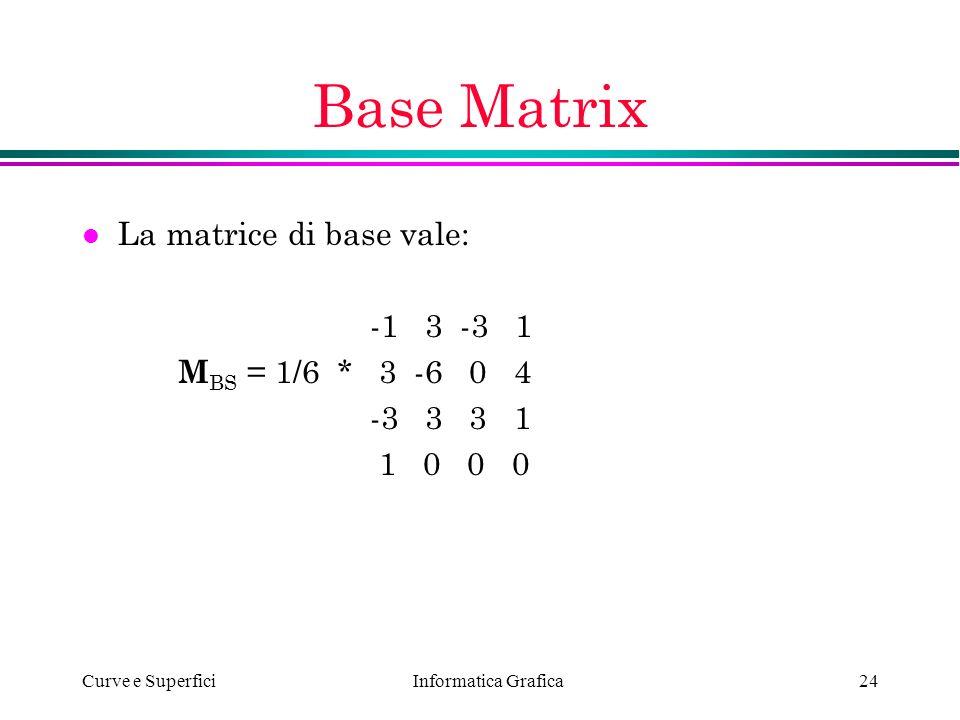 Informatica Grafica Curve e Superfici24 Base Matrix l La matrice di base vale: -1 3 -3 1 M BS = 1/6 * 3 -6 0 4 -3 3 3 1 1 0 0 0