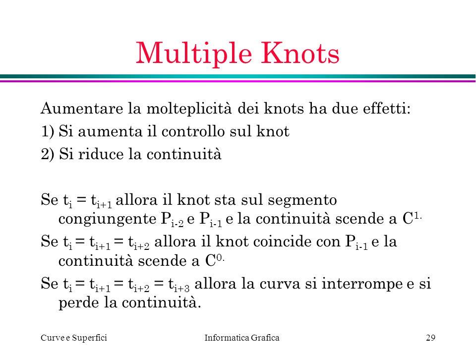 Informatica Grafica Curve e Superfici29 Multiple Knots Aumentare la molteplicità dei knots ha due effetti: 1)Si aumenta il controllo sul knot 2) Si ri