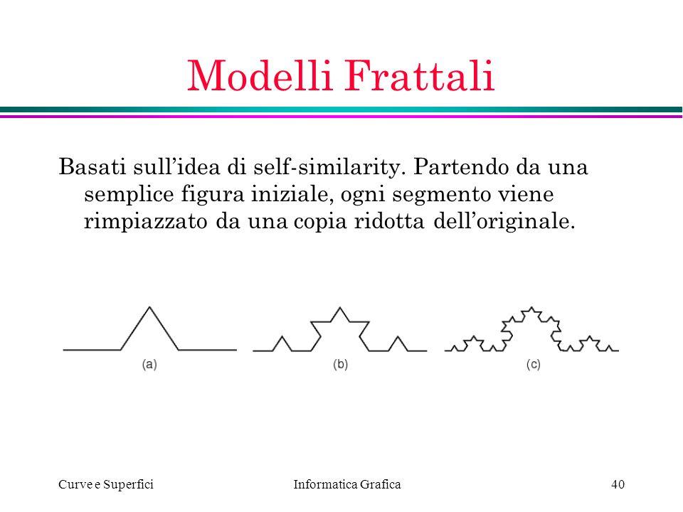 Informatica Grafica Curve e Superfici40 Modelli Frattali Basati sullidea di self-similarity. Partendo da una semplice figura iniziale, ogni segmento v