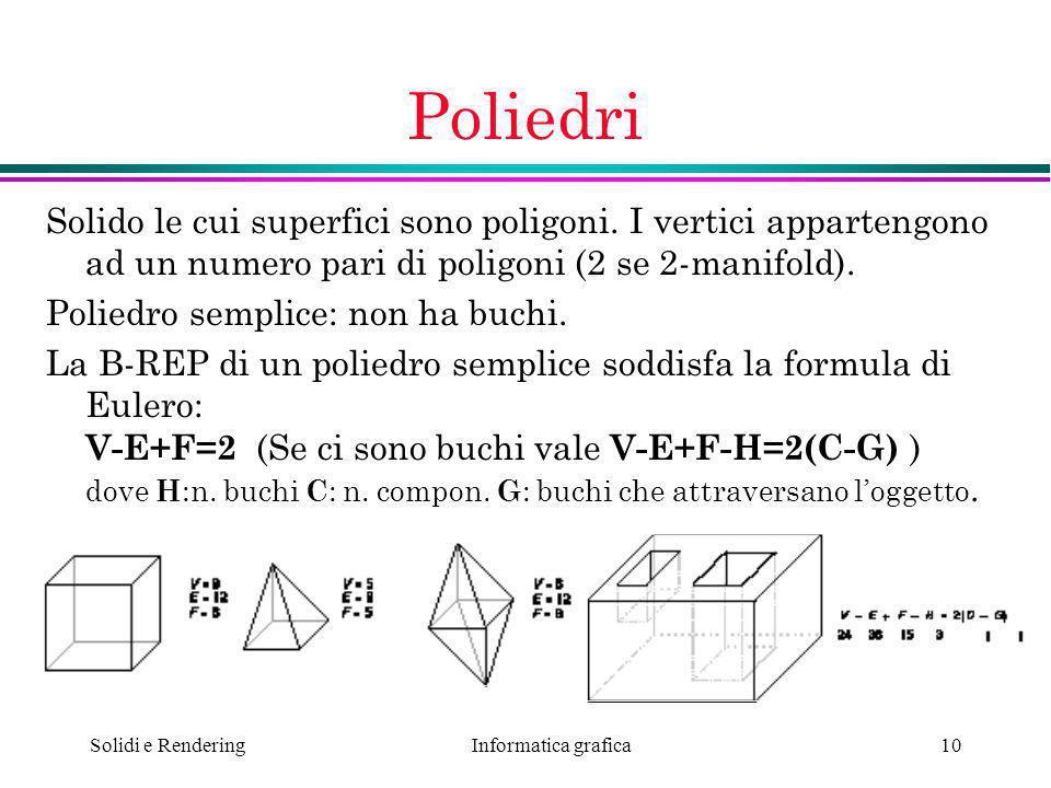 Informatica grafica Solidi e Rendering10 Poliedri Solido le cui superfici sono poligoni. I vertici appartengono ad un numero pari di poligoni (2 se 2-