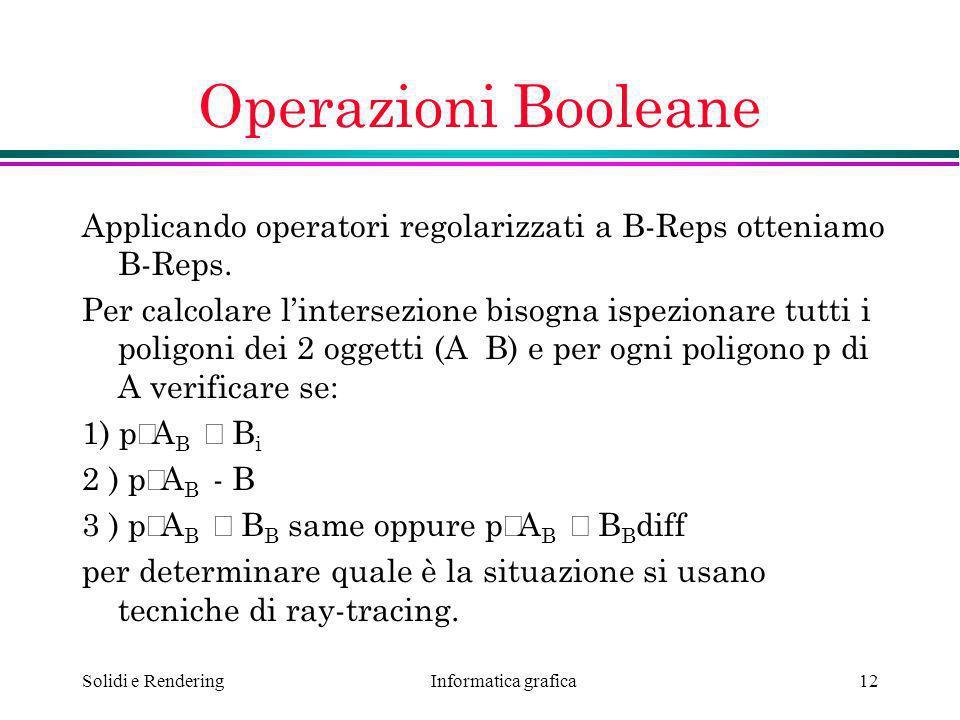 Informatica grafica Solidi e Rendering12 Operazioni Booleane Applicando operatori regolarizzati a B-Reps otteniamo B-Reps. Per calcolare lintersezione