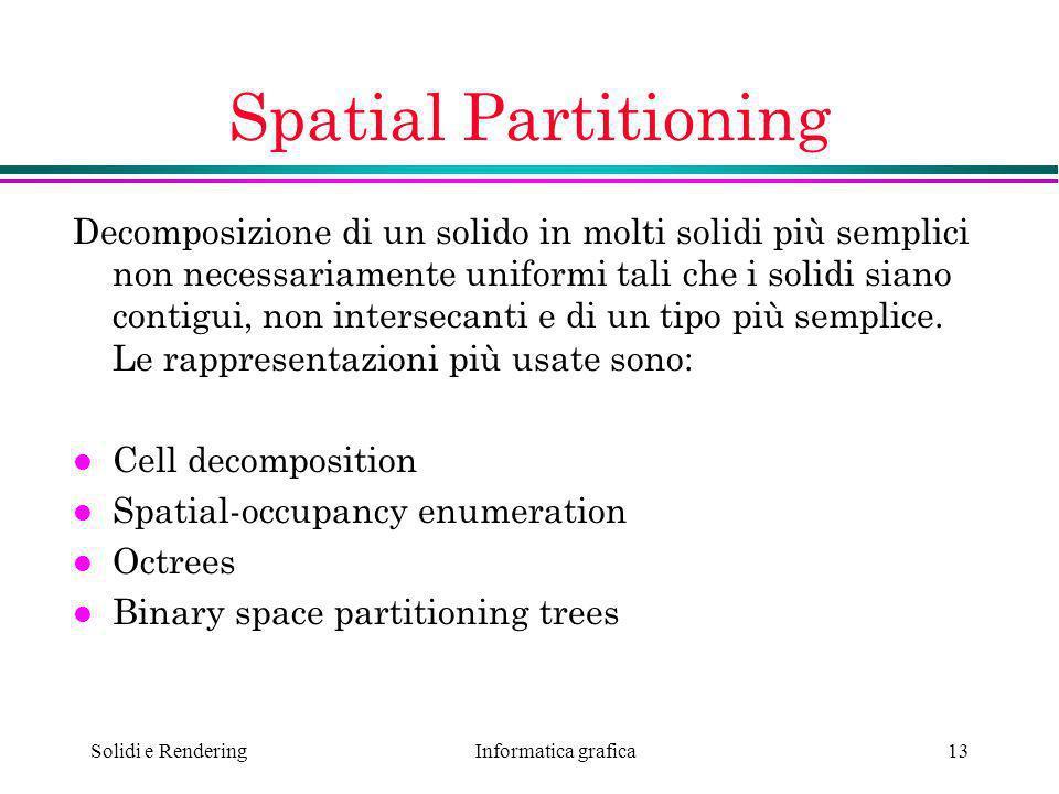 Informatica grafica Solidi e Rendering13 Spatial Partitioning Decomposizione di un solido in molti solidi più semplici non necessariamente uniformi ta