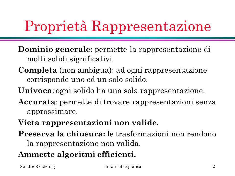 Informatica grafica Solidi e Rendering2 Proprietà Rappresentazione Dominio generale: permette la rappresentazione di molti solidi significativi. Compl