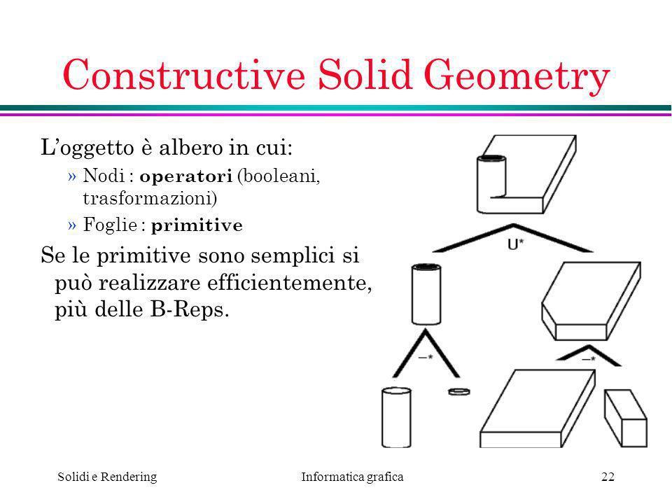 Informatica grafica Solidi e Rendering22 Constructive Solid Geometry Loggetto è albero in cui: »Nodi : operatori (booleani, trasformazioni) »Foglie :