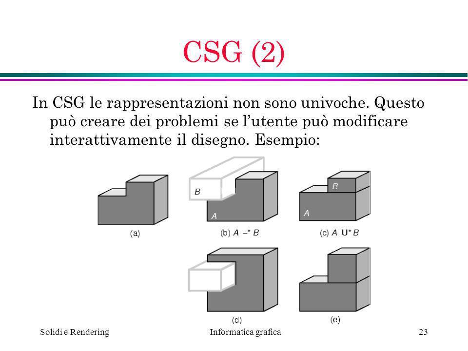 Informatica grafica Solidi e Rendering23 CSG (2) In CSG le rappresentazioni non sono univoche. Questo può creare dei problemi se lutente può modificar