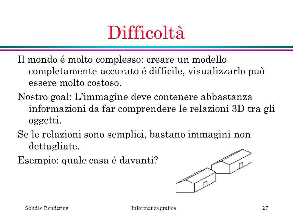 Informatica grafica Solidi e Rendering27 Difficoltà Il mondo é molto complesso: creare un modello completamente accurato é difficile, visualizzarlo pu