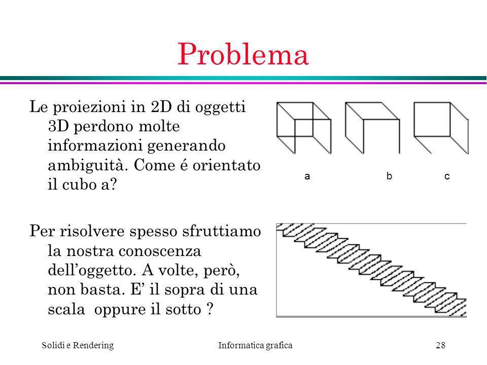 Informatica grafica Solidi e Rendering28 Problema Le proiezioni in 2D di oggetti 3D perdono molte informazioni generando ambiguità. Come é orientato i