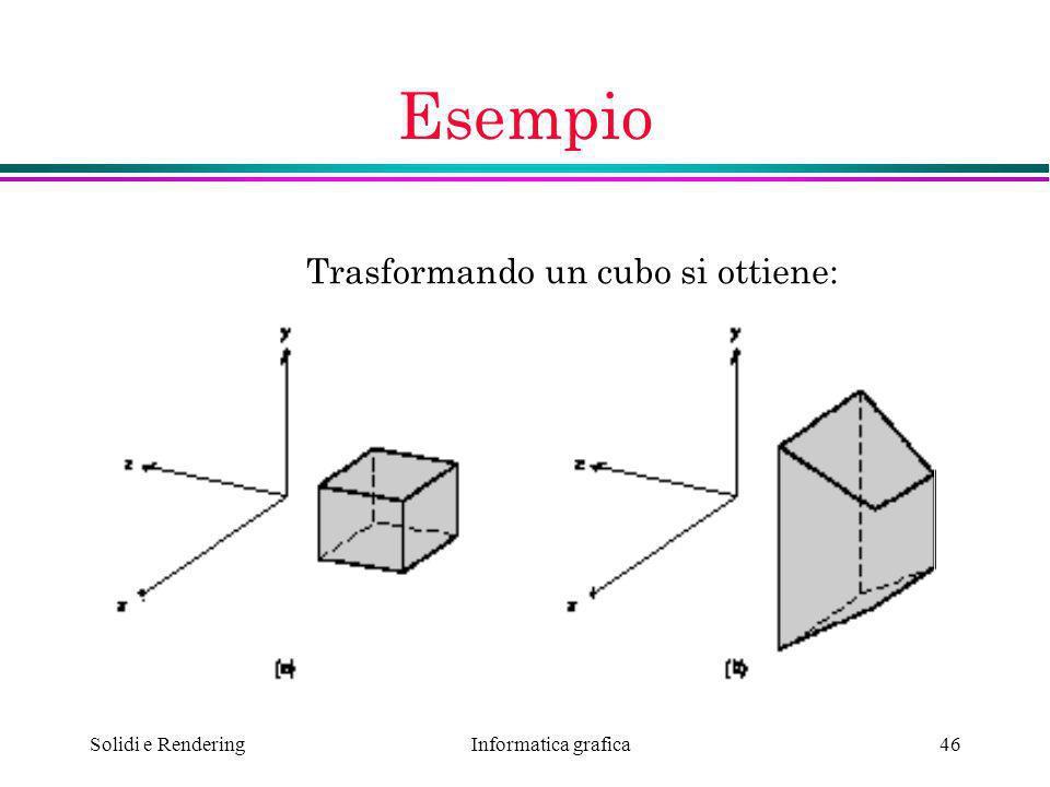 Informatica grafica Solidi e Rendering46 Esempio Trasformando un cubo si ottiene:
