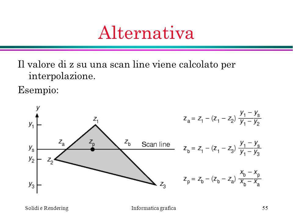 Informatica grafica Solidi e Rendering55 Alternativa Il valore di z su una scan line viene calcolato per interpolazione. Esempio: