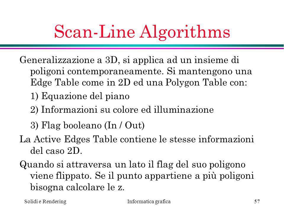 Informatica grafica Solidi e Rendering57 Scan-Line Algorithms Generalizzazione a 3D, si applica ad un insieme di poligoni contemporaneamente. Si mante