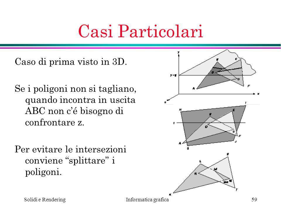 Informatica grafica Solidi e Rendering59 Casi Particolari Caso di prima visto in 3D. Se i poligoni non si tagliano, quando incontra in uscita ABC non