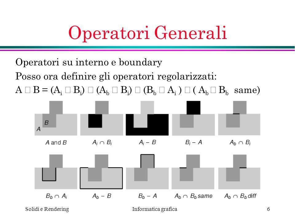 Informatica grafica Solidi e Rendering6 Operatori Generali Operatori su interno e boundary Posso ora definire gli operatori regolarizzati: A B = (A i