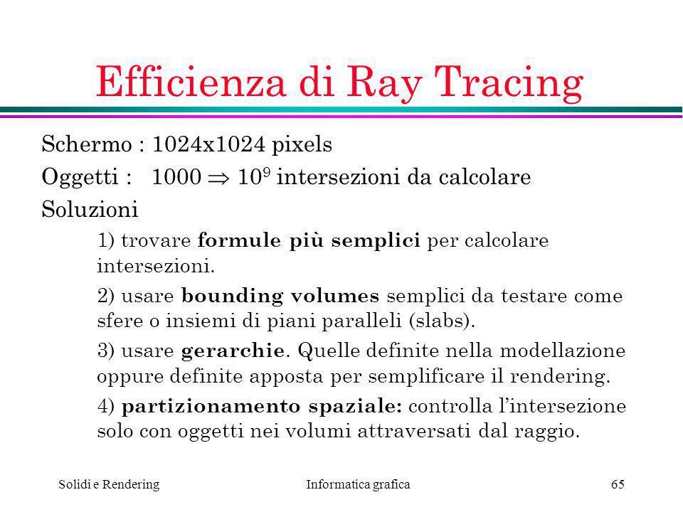 Informatica grafica Solidi e Rendering65 Efficienza di Ray Tracing Schermo : 1024x1024 pixels Oggetti : 1000 10 9 intersezioni da calcolare Soluzioni