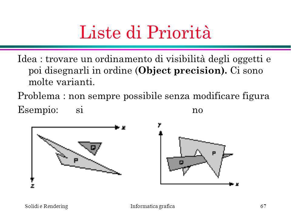 Informatica grafica Solidi e Rendering67 Liste di Priorità Idea : trovare un ordinamento di visibilità degli oggetti e poi disegnarli in ordine ( Obje