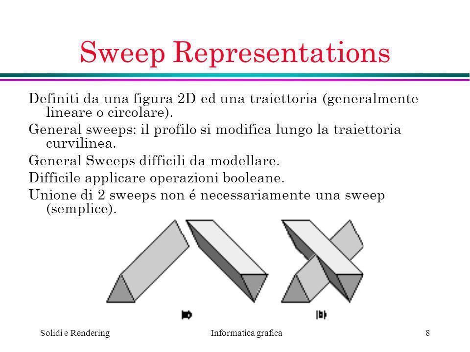 Informatica grafica Solidi e Rendering8 Sweep Representations Definiti da una figura 2D ed una traiettoria (generalmente lineare o circolare). General