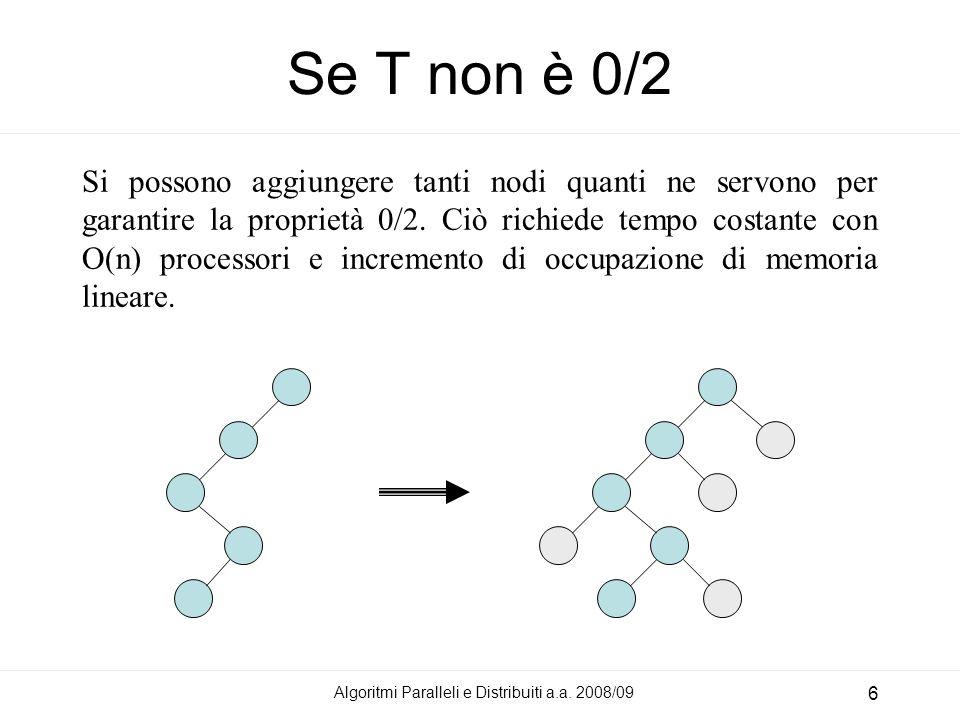 Algoritmi Paralleli e Distribuiti a.a. 2008/09 6 Si possono aggiungere tanti nodi quanti ne servono per garantire la proprietà 0/2. Ciò richiede tempo