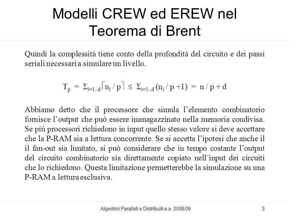 Modelli CREW ed EREW nel Teorema di Brent Quindi la complessità tiene conto della profondità del circuito e dei passi seriali necessari a simulare un livello.