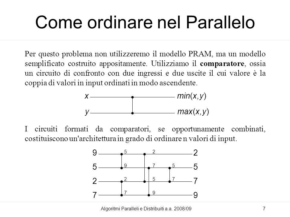 Insertion Sort Due architetture per implementare l insertion sort (tra 8 valori in input): Algoritmi Paralleli e Distribuiti a.a.