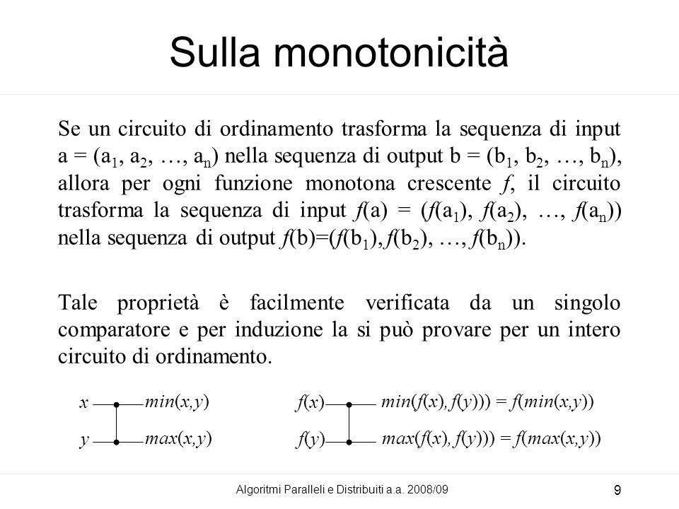 Sulla monotonicità Se un circuito di ordinamento trasforma la sequenza di input a = (a 1, a 2, …, a n ) nella sequenza di output b = (b 1, b 2, …, b n ), allora per ogni funzione monotona crescente f, il circuito trasforma la sequenza di input f(a) = (f(a 1 ), f(a 2 ), …, f(a n )) nella sequenza di output f(b)=(f(b 1 ), f(b 2 ), …, f(b n )).
