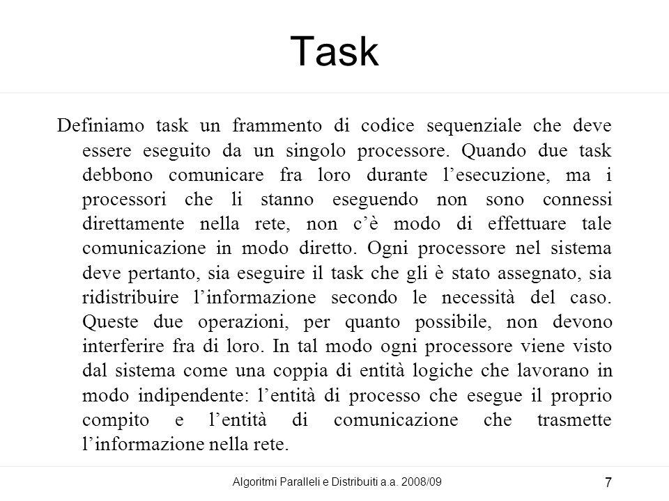 Algoritmi Paralleli e Distribuiti a.a. 2008/09 7 Task Definiamo task un frammento di codice sequenziale che deve essere eseguito da un singolo process