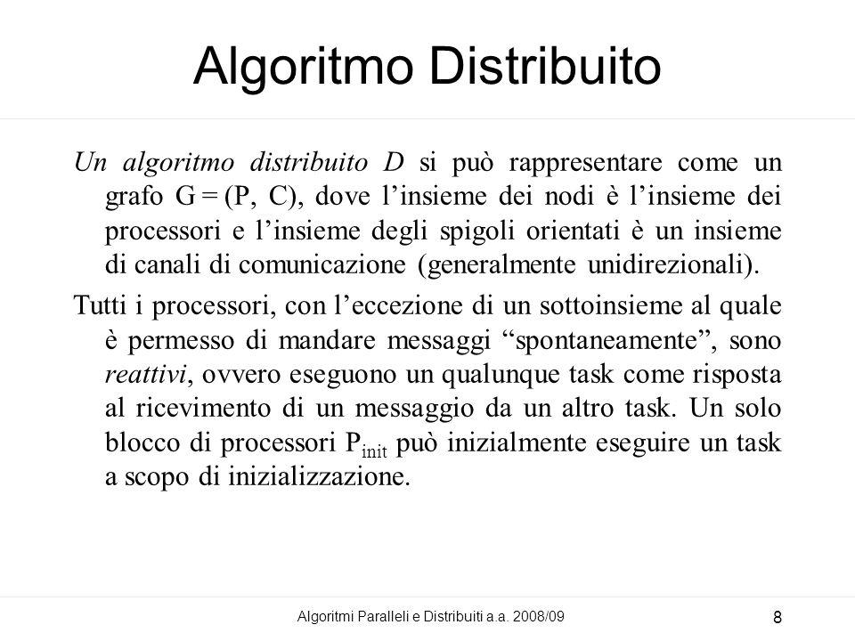 Algoritmi Paralleli e Distribuiti a.a. 2008/09 8 Algoritmo Distribuito Un algoritmo distribuito D si può rappresentare come un grafo G = (P, C), dove