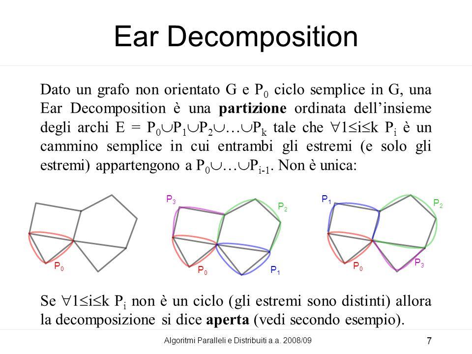 Algoritmi Paralleli e Distribuiti a.a. 2008/09 7 Ear Decomposition Dato un grafo non orientato G e P 0 ciclo semplice in G, una Ear Decomposition è un