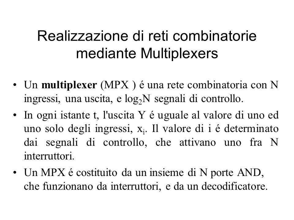 Realizzazione di reti combinatorie mediante Multiplexers Un multiplexer (MPX ) é una rete combinatoria con N ingressi, una uscita, e log 2 N segnali d