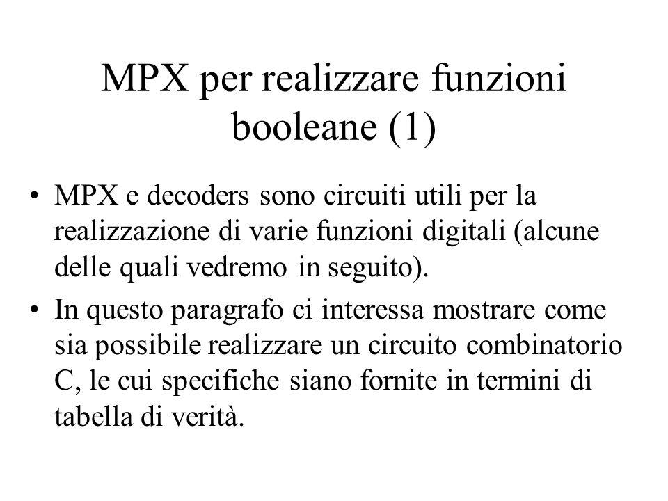 MPX per realizzare funzioni booleane (2) Data una funzione booleana di n variabili ed una uscita Y, si utilizza un MPX Nx1, con n=log 2 N.
