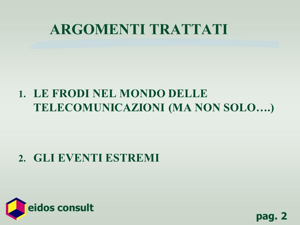 pag. 2 eidos consult ARGOMENTI TRATTATI 1. LE FRODI NEL MONDO DELLE TELECOMUNICAZIONI (MA NON SOLO….) 2. GLI EVENTI ESTREMI