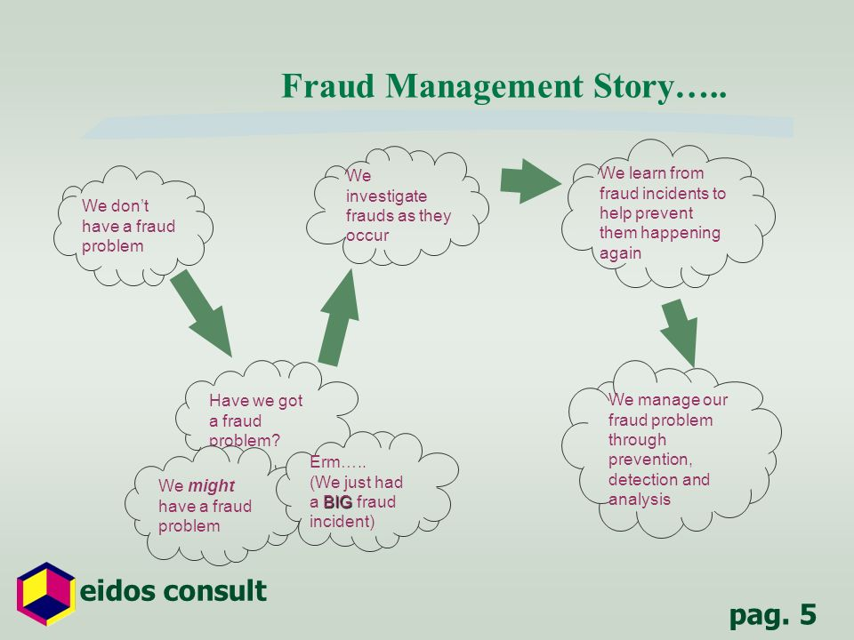 pag. 5 eidos consult Fraud Management Story….. We dont have a fraud problem Have we got a fraud problem? We might have a fraud problem BIG Erm….. (We