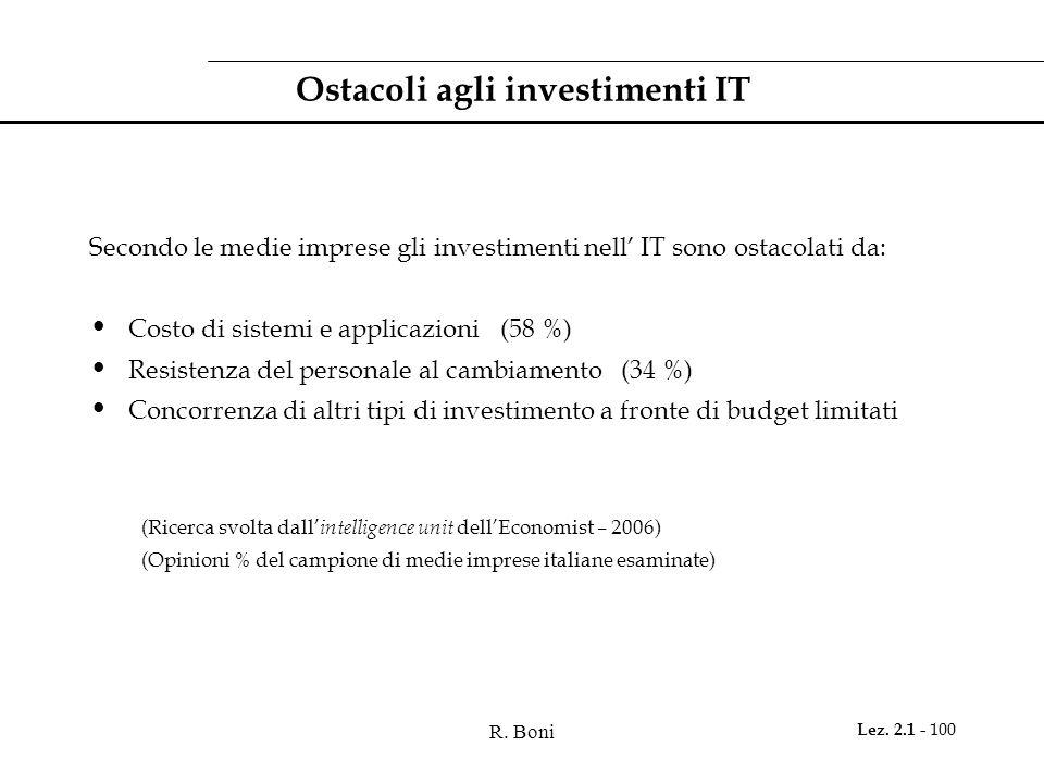 R. Boni Lez. 2.1 - 100 Ostacoli agli investimenti IT Secondo le medie imprese gli investimenti nell IT sono ostacolati da: Costo di sistemi e applicaz