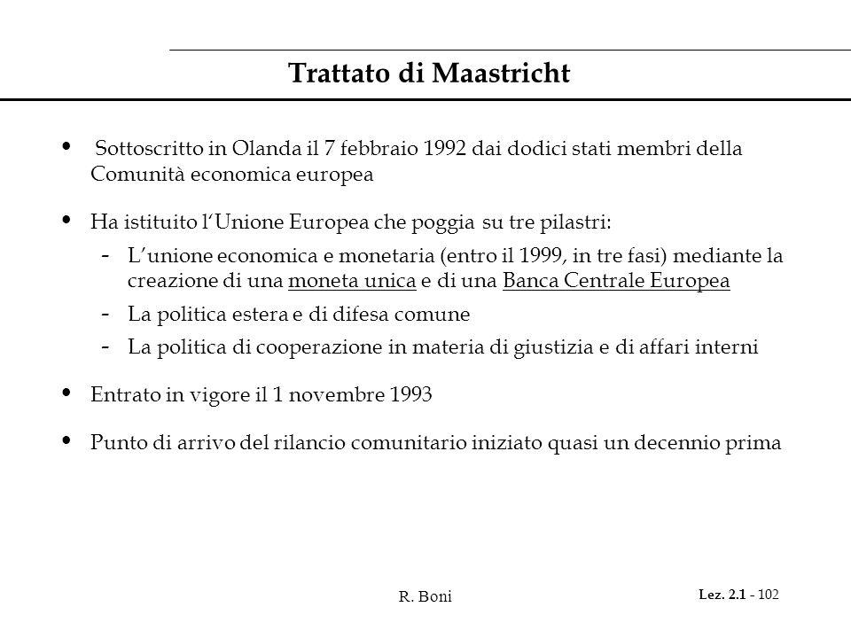 R. Boni Lez. 2.1 - 102 Trattato di Maastricht Sottoscritto in Olanda il 7 febbraio 1992 dai dodici stati membri della Comunità economica europea Ha is