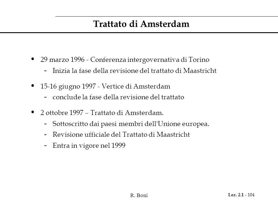 R. Boni Lez. 2.1 - 104 Trattato di Amsterdam 29 marzo 1996 - Conferenza intergovernativa di Torino - Inizia la fase della revisione del trattato di Ma