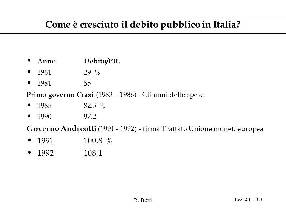 R. Boni Lez. 2.1 - 108 Come è cresciuto il debito pubblico in Italia? AnnoDebito/PIL 196129 % 198155 Primo governo Craxi (1983 – 1986) - Gli anni dell